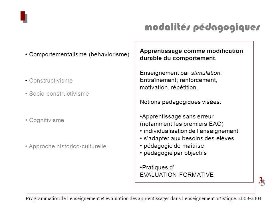 modalités pédagogiques Programmation de lenseignement et évaluation des apprentissages dans lenseignement artistique. 2003-2004 3 3 Comportementalisme