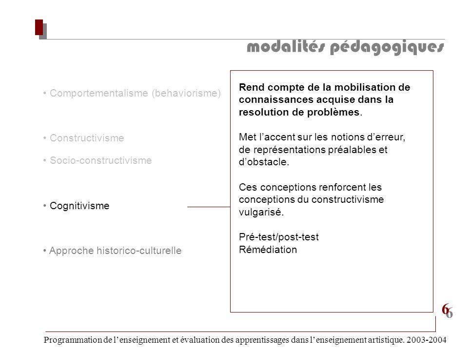 modalités pédagogiques Programmation de lenseignement et évaluation des apprentissages dans lenseignement artistique. 2003-2004 6 6 Comportementalisme