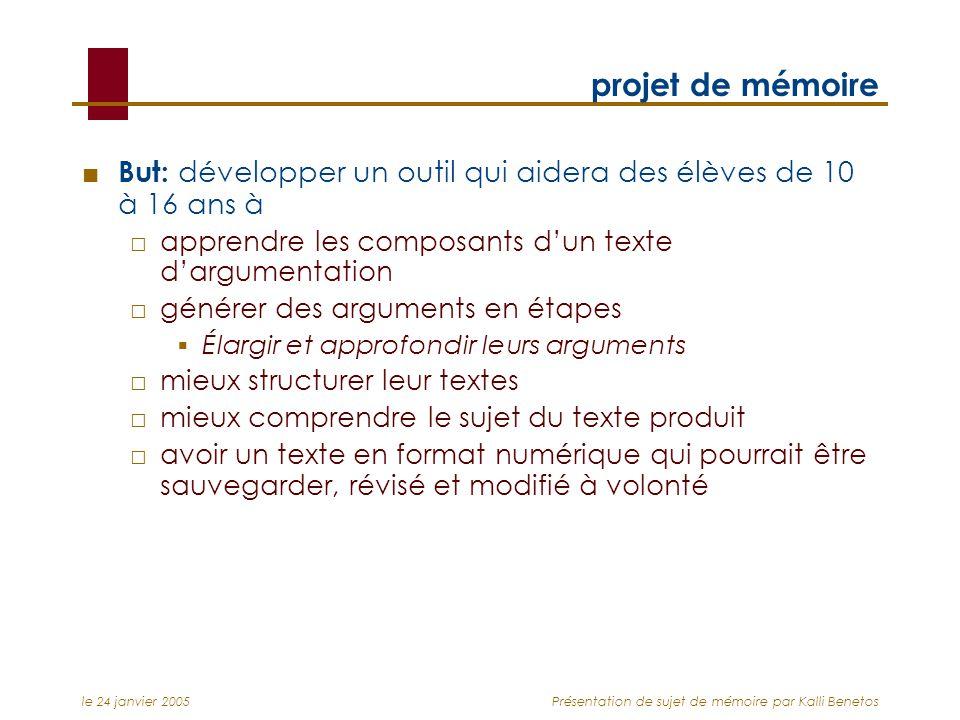 le 24 janvier 2005Présentation de sujet de mémoire par Kalli Benetos projet de mémoire But: développer un outil qui aidera des élèves de 10 à 16 ans à