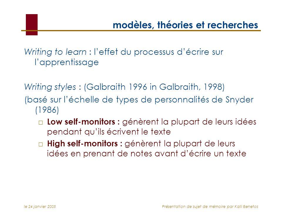 le 24 janvier 2005Présentation de sujet de mémoire par Kalli Benetos modèles, théories et recherches Writing to learn : leffet du processus décrire su