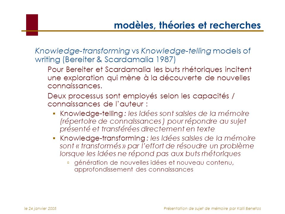 le 24 janvier 2005Présentation de sujet de mémoire par Kalli Benetos modèles, théories et recherches Knowledge-transforming vs Knowledge-telling model