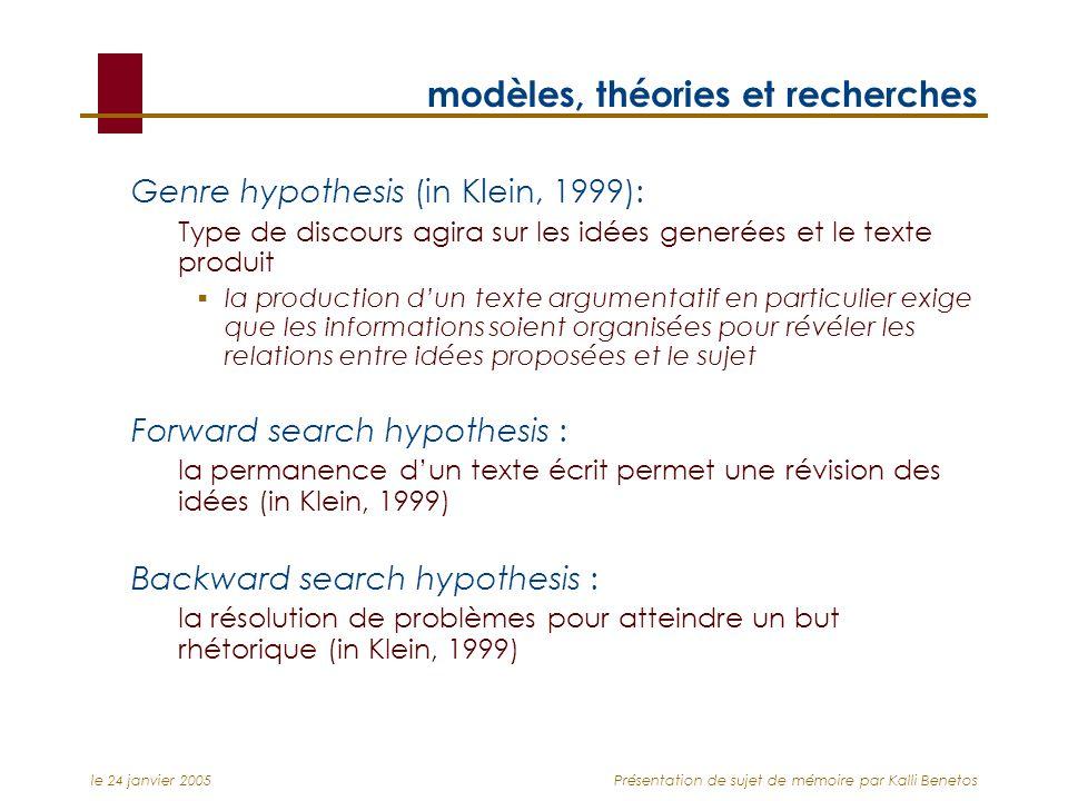 le 24 janvier 2005Présentation de sujet de mémoire par Kalli Benetos modèles, théories et recherches Genre hypothesis (in Klein, 1999): Type de discou