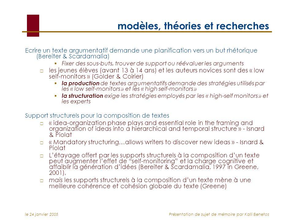 le 24 janvier 2005Présentation de sujet de mémoire par Kalli Benetos modèles, théories et recherches Ecrire un texte argumentatif demande une planific