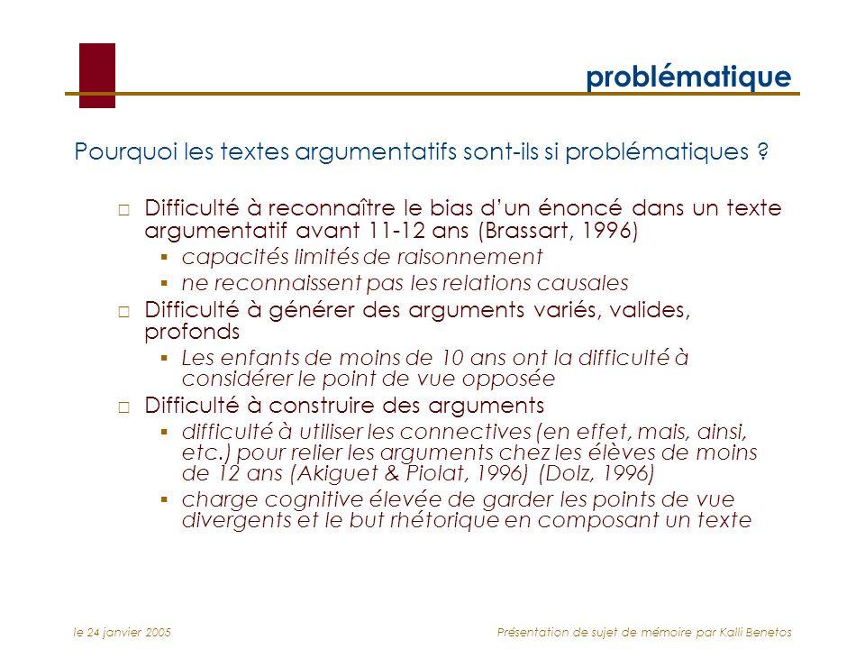 le 24 janvier 2005Présentation de sujet de mémoire par Kalli Benetos problématique Pourquoi les textes argumentatifs sont-ils si problématiques ? Diff
