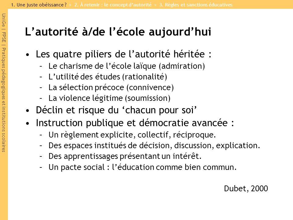 UniGe   FPSE   Pratiques pédagogiques et institutions scolaires Lautorité à/de lécole aujourdhui Les quatre piliers de lautorité héritée : –Le charism