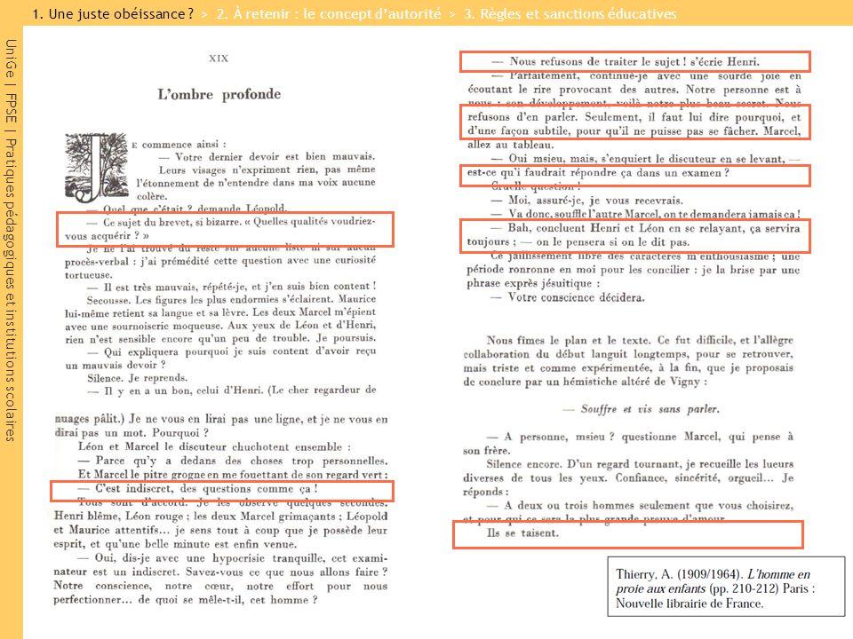 UniGe   FPSE   Pratiques pédagogiques et institutions scolaires 1. Une juste obéissance ? > 2. À retenir : le concept dautorité > 3. Règles et sanctio