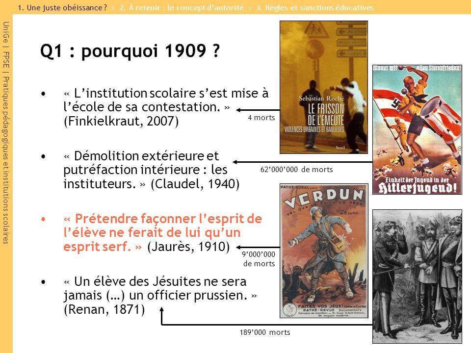 UniGe   FPSE   Pratiques pédagogiques et institutions scolaires Q1 : pourquoi 1909 ? « Linstitution scolaire sest mise à lécole de sa contestation. »