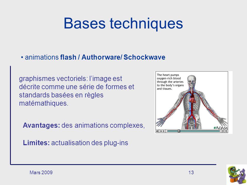 Mars 200913 Bases techniques animations flash / Authorware/ Schockwave graphismes vectoriels: limage est décrite comme une série de formes et standard