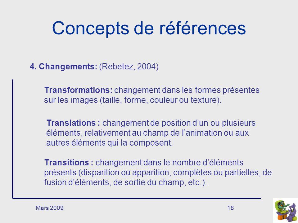 Mars 200918 Concepts de références 4. Changements: (Rebetez, 2004) Transformations: changement dans les formes présentes sur les images (taille, forme