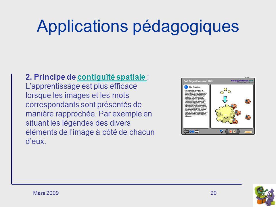 Mars 200920 Applications pédagogiques 2. Principe de contiguïté spatiale : Lapprentissage est plus efficace lorsque les images et les mots corresponda