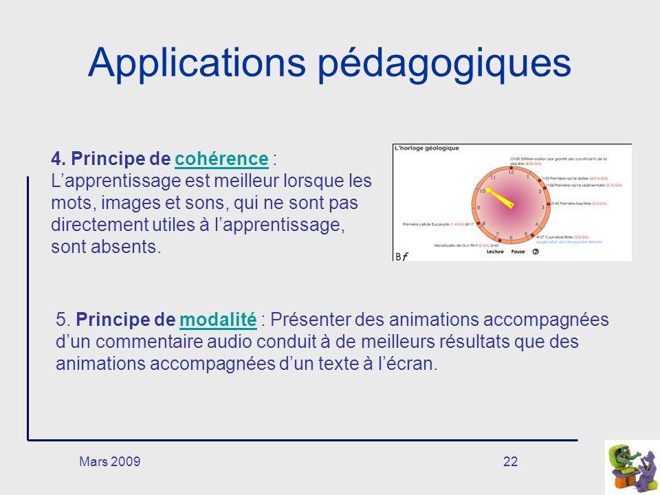 Mars 200922 Applications pédagogiques 4. Principe de cohérence : Lapprentissage est meilleur lorsque les mots, images et sons, qui ne sont pas directe
