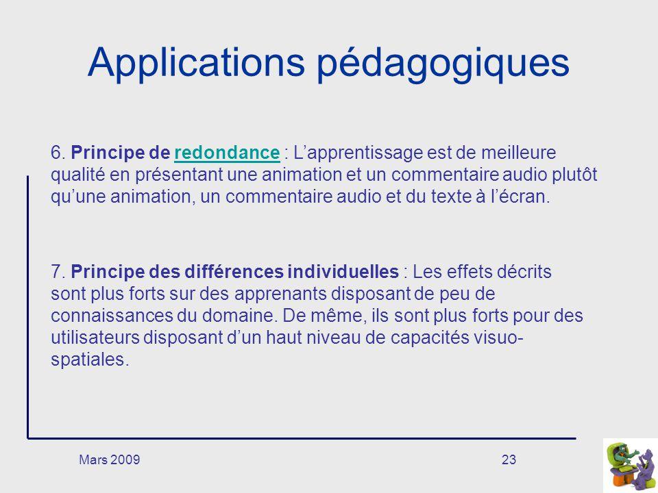 Mars 200923 Applications pédagogiques 6. Principe de redondance : Lapprentissage est de meilleure qualité en présentant une animation et un commentair