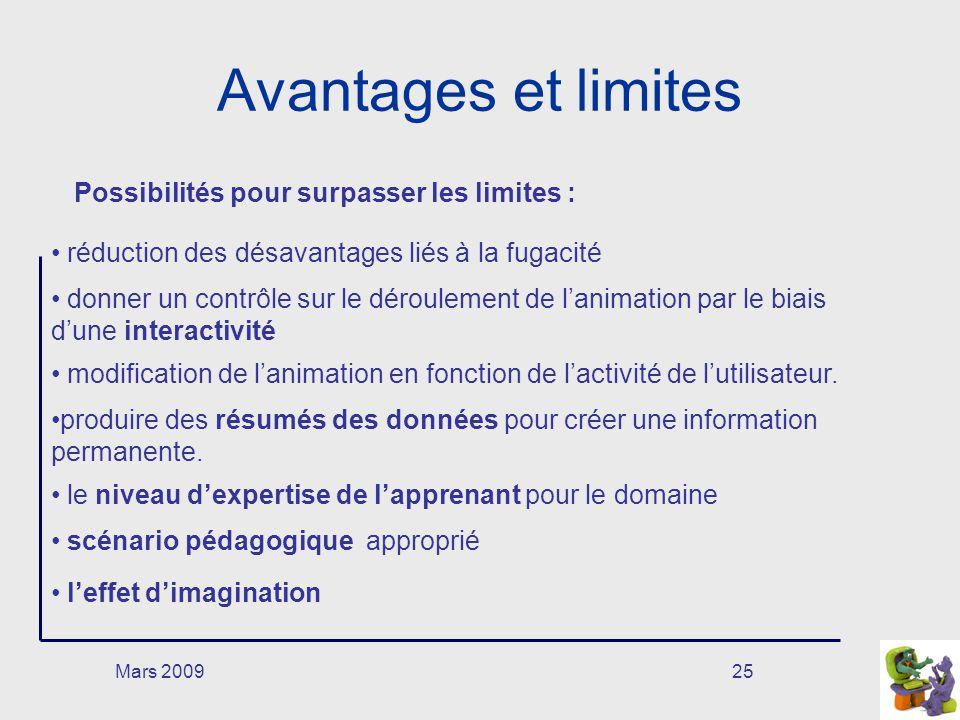 Mars 200925 Avantages et limites Possibilités pour surpasser les limites : réduction des désavantages liés à la fugacité donner un contrôle sur le dér