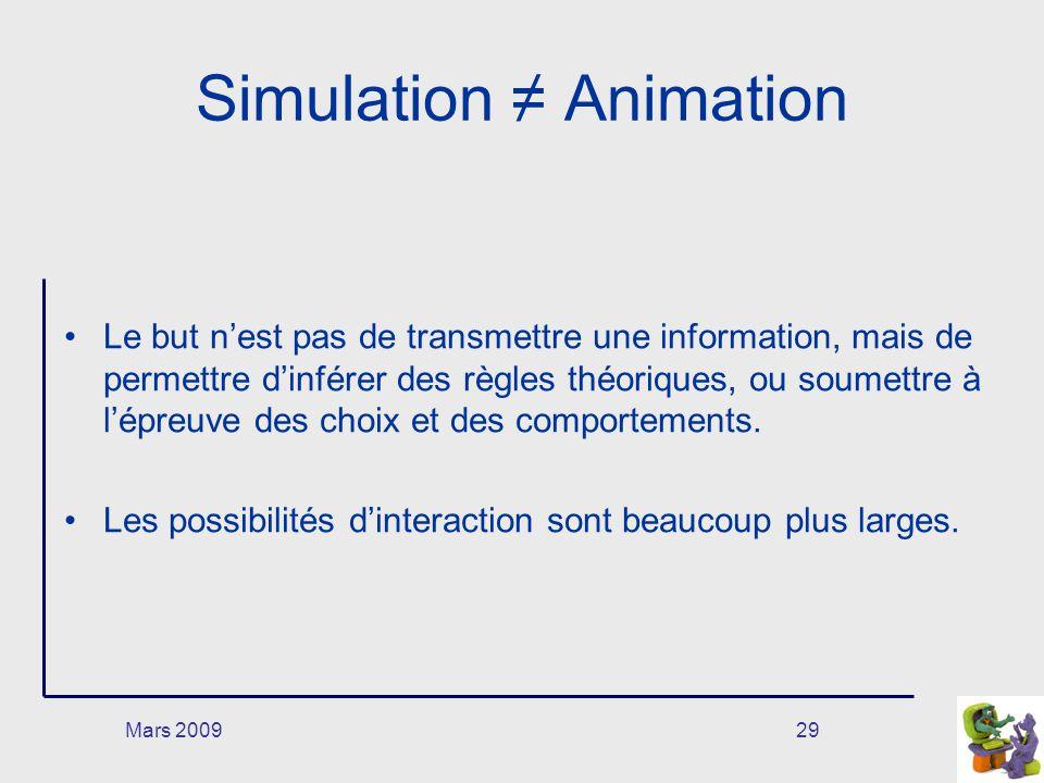 Mars 200929 Simulation Animation Le but nest pas de transmettre une information, mais de permettre dinférer des règles théoriques, ou soumettre à lépr