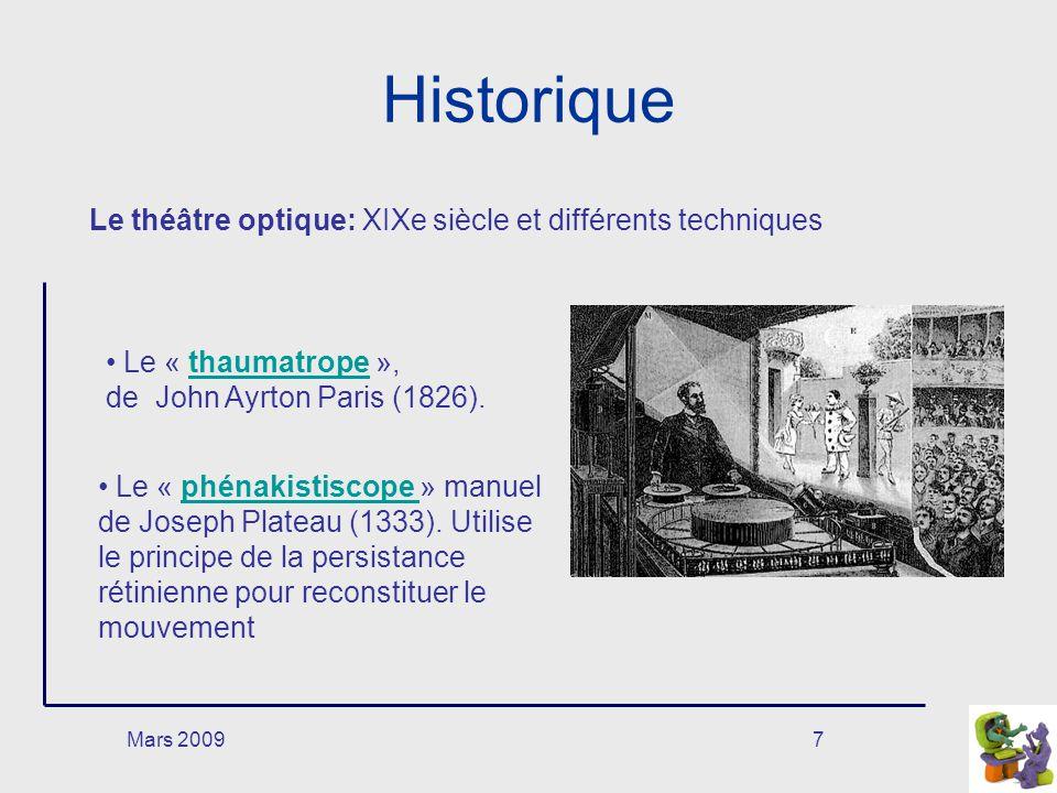 Mars 20098 Historique Le « praxinoscope » dÉmile Reynaud: le mouvement est aperçu grâce à 12 miroirs dans un cylindrepraxinoscope Les études de Muybridge du mouvementétudes Le « zootrope », de William Horner, (1834) porté de longue bande de dessins dans un cylindrezootrope