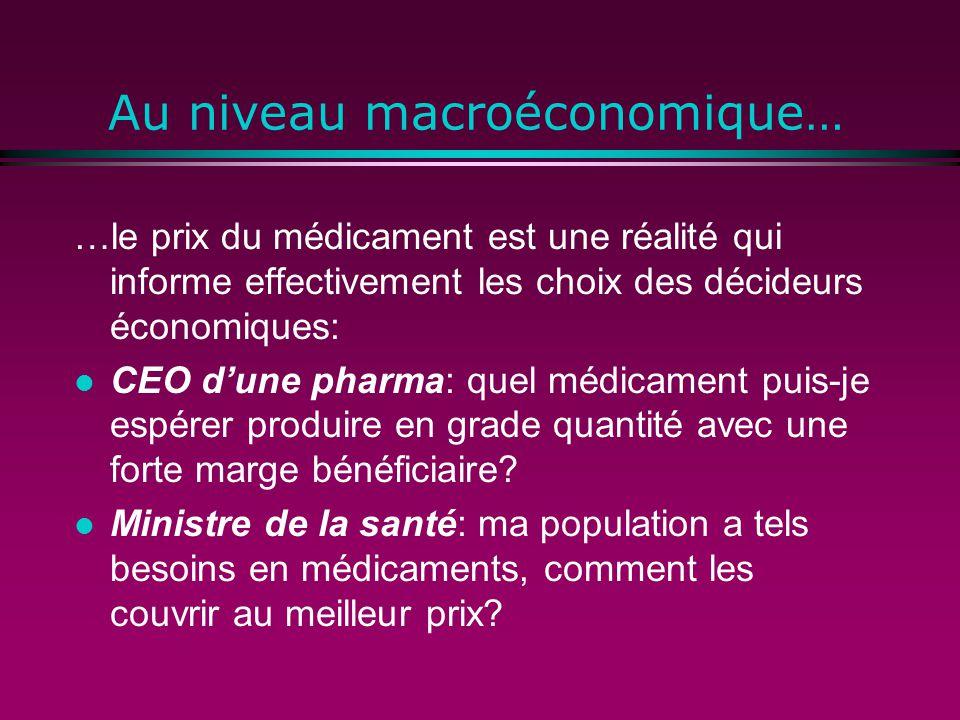 Au niveau macroéconomique… …le prix du médicament est une réalité qui informe effectivement les choix des décideurs économiques: l CEO dune pharma: quel médicament puis-je espérer produire en grade quantité avec une forte marge bénéficiaire.
