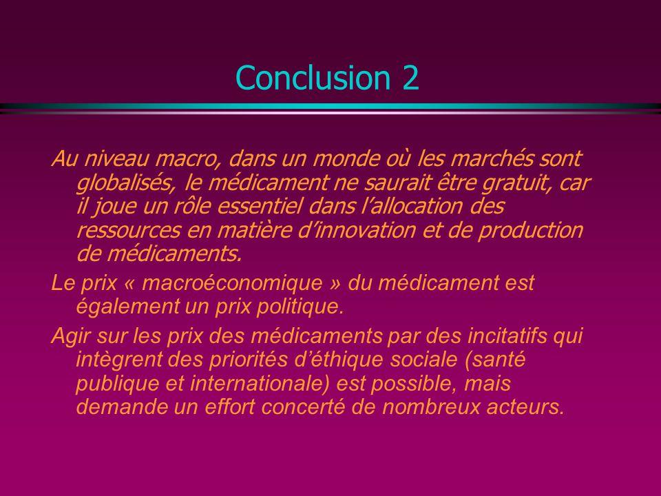 Conclusion 2 Au niveau macro, dans un monde où les marchés sont globalisés, le médicament ne saurait être gratuit, car il joue un rôle essentiel dans lallocation des ressources en matière dinnovation et de production de médicaments.