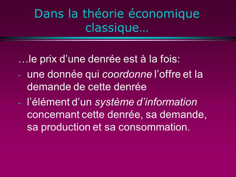 Dans la théorie économique classique… …le prix dune denrée est à la fois: - une donnée qui coordonne loffre et la demande de cette denrée - lélément dun système dinformation concernant cette denrée, sa demande, sa production et sa consommation.