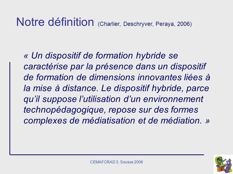 CEMAFORAD 3, Sousse 2006 Notre définition (Charlier, Deschryver, Peraya, 2006) « Un dispositif de formation hybride se caractérise par la présence dan