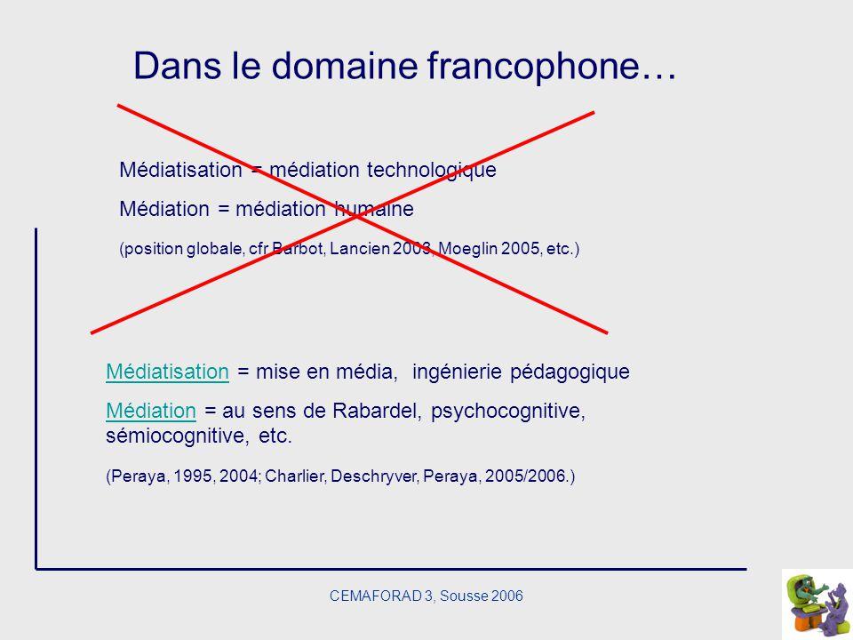 CEMAFORAD 3, Sousse 2006 Dans le domaine francophone… Médiatisation = médiation technologique Médiation = médiation humaine (position globale, cfr Bar