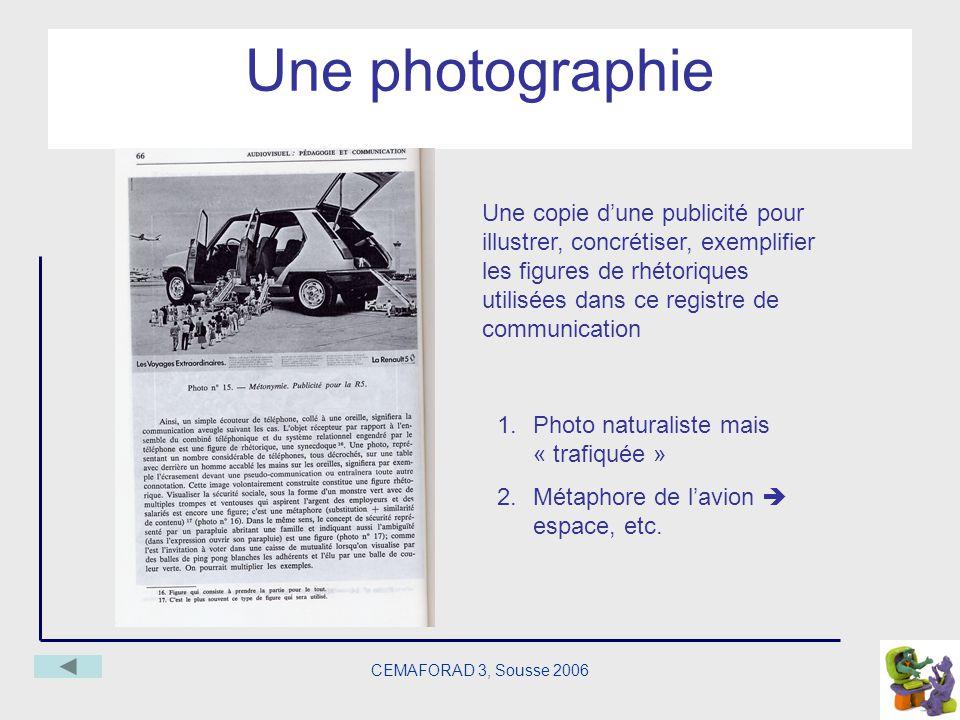 CEMAFORAD 3, Sousse 2006 Une photographie Une copie dune publicité pour illustrer, concrétiser, exemplifier les figures de rhétoriques utilisées dans