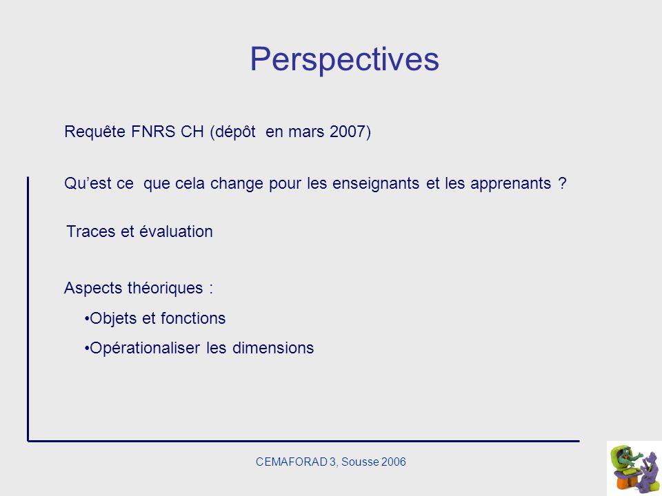 CEMAFORAD 3, Sousse 2006 Perspectives Quest ce que cela change pour les enseignants et les apprenants ? Requête FNRS CH (dépôt en mars 2007) Traces et