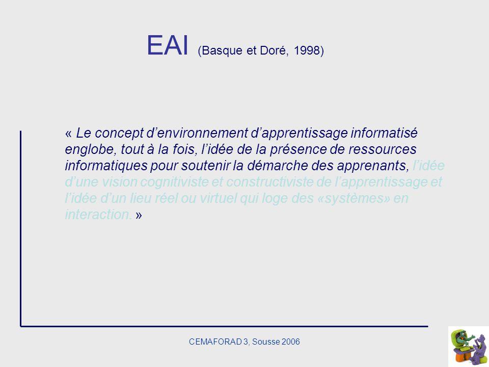 CEMAFORAD 3, Sousse 2006 EAI (Basque et Doré, 1998) « Le concept denvironnement dapprentissage informatisé englobe, tout à la fois, lidée de la présen