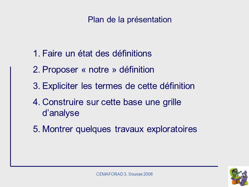 CEMAFORAD 3, Sousse 2006 Plan de la présentation 1.Faire un état des définitions 2.Proposer « notre » définition 3.Expliciter les termes de cette défi