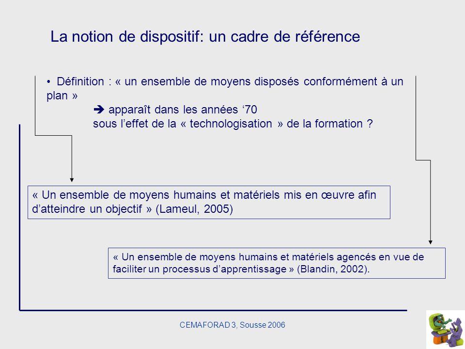 CEMAFORAD 3, Sousse 2006 La notion de dispositif: un cadre de référence Définition : « un ensemble de moyens disposés conformément à un plan » apparaî