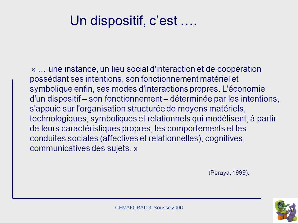 CEMAFORAD 3, Sousse 2006 Un dispositif, cest …. « … une instance, un lieu social d'interaction et de coopération possédant ses intentions, son fonctio