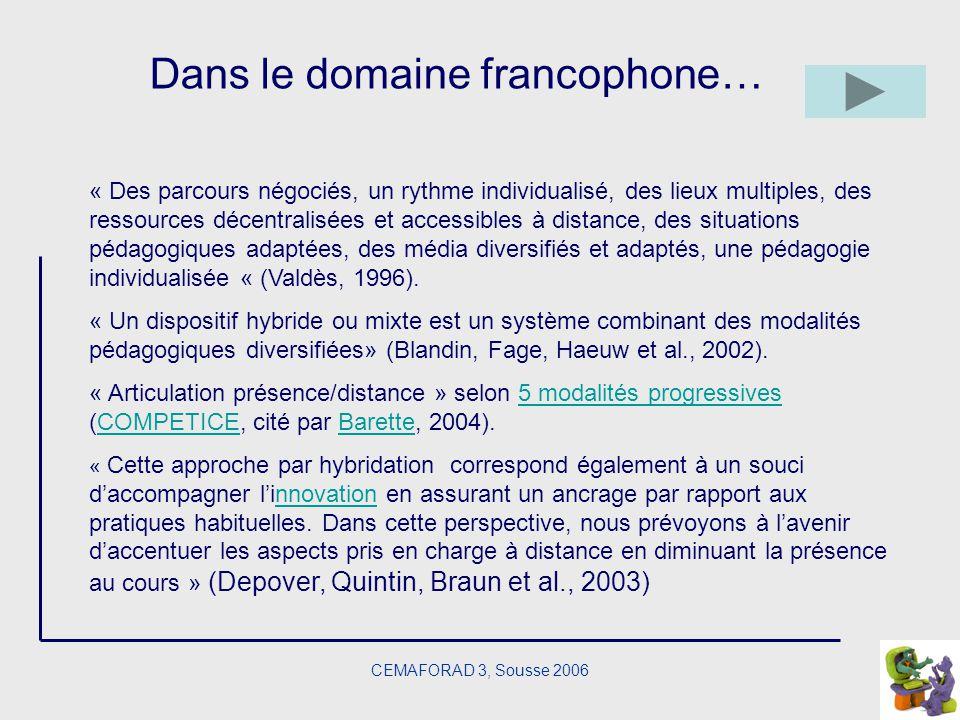 CEMAFORAD 3, Sousse 2006 Dans le domaine francophone… « Des parcours négociés, un rythme individualisé, des lieux multiples, des ressources décentrali