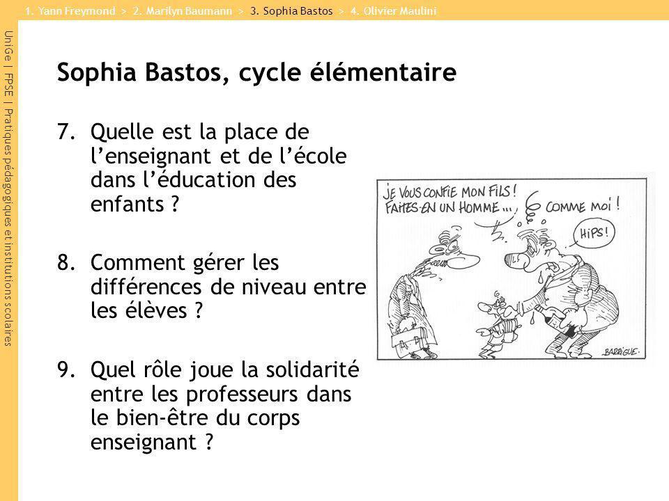 UniGe | FPSE | Pratiques pédagogiques et institutions scolaires Sophia Bastos, cycle élémentaire 7.Quelle est la place de lenseignant et de lécole dan