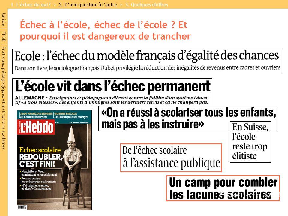 UniGe | FPSE | Pratiques pédagogiques et institutions scolaires Échec à lécole, échec de lécole .