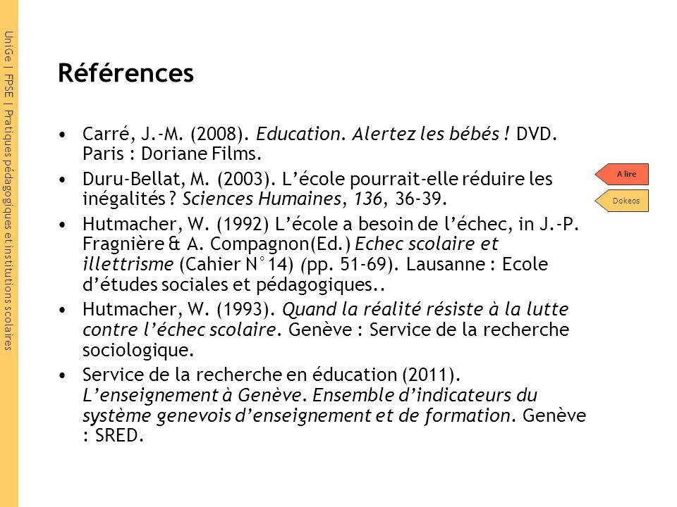 UniGe | FPSE | Pratiques pédagogiques et institutions scolaires Références Carré, J.-M.