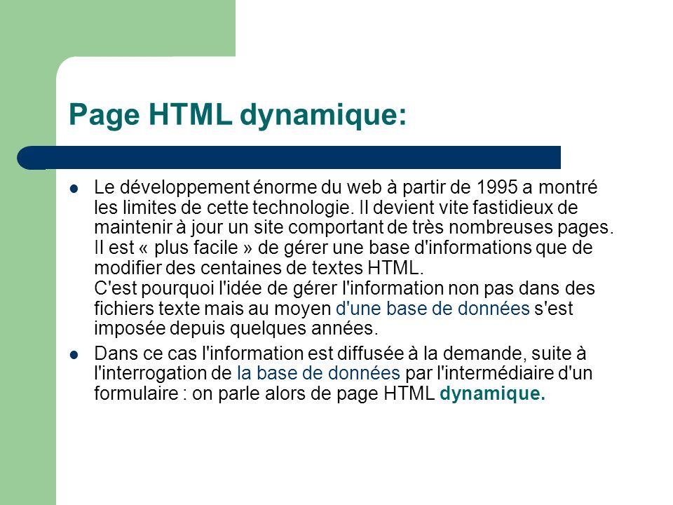 Page statique: Les documents produits à l aide d un éditeur de texte ou d un éditeur HTML sont stockés en tant que fichiers texte (extension htm, html,...) sur le disque dur du serveur web qui les diffuse.