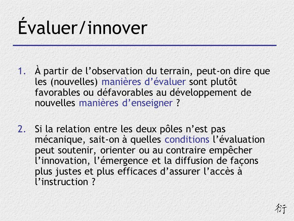 Évaluer/innover 1.À partir de lobservation du terrain, peut-on dire que les (nouvelles) manières dévaluer sont plutôt favorables ou défavorables au dé