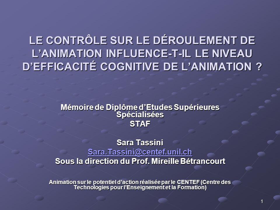 1 LE CONTRÔLE SUR LE DÉROULEMENT DE LANIMATION INFLUENCE-T-IL LE NIVEAU DEFFICACITÉ COGNITIVE DE LANIMATION .