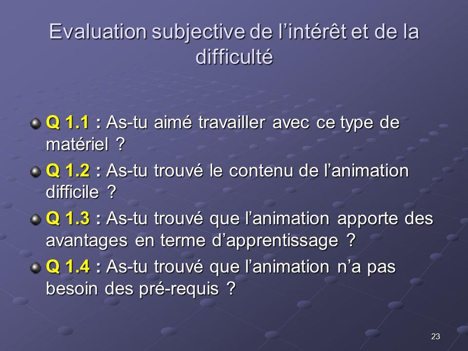 23 Evaluation subjective de lintérêt et de la difficulté Q 1.1 : As-tu aimé travailler avec ce type de matériel .