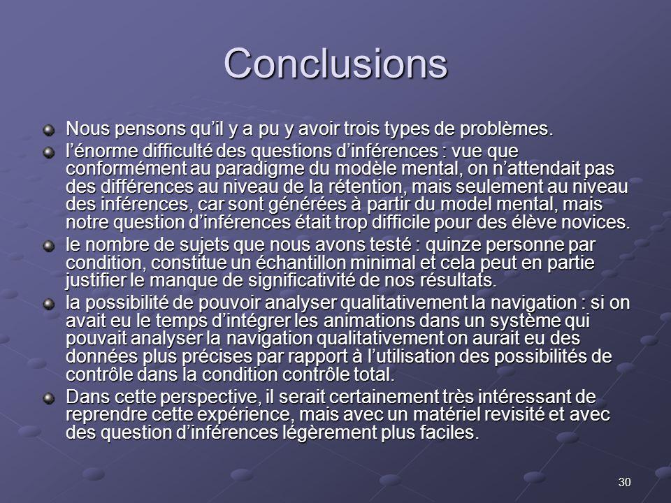 30 Conclusions Nous pensons quil y a pu y avoir trois types de problèmes.
