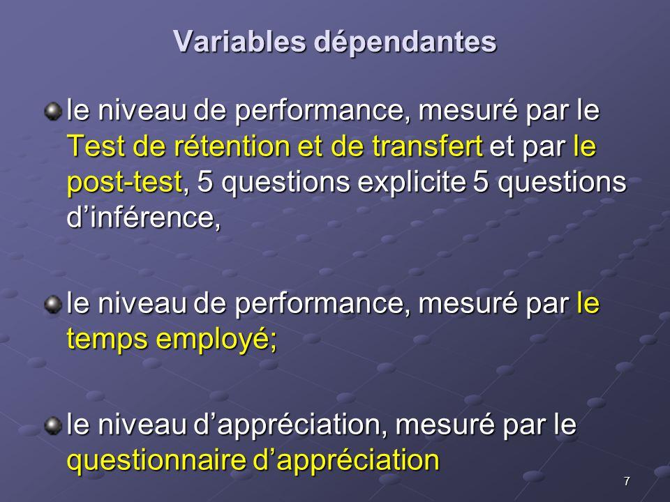 7 Variables dépendantes le niveau de performance, mesuré par le Test de rétention et de transfert et par le post-test, 5 questions explicite 5 questions dinférence, le niveau de performance, mesuré par le temps employé; le niveau dappréciation, mesuré par le questionnaire dappréciation