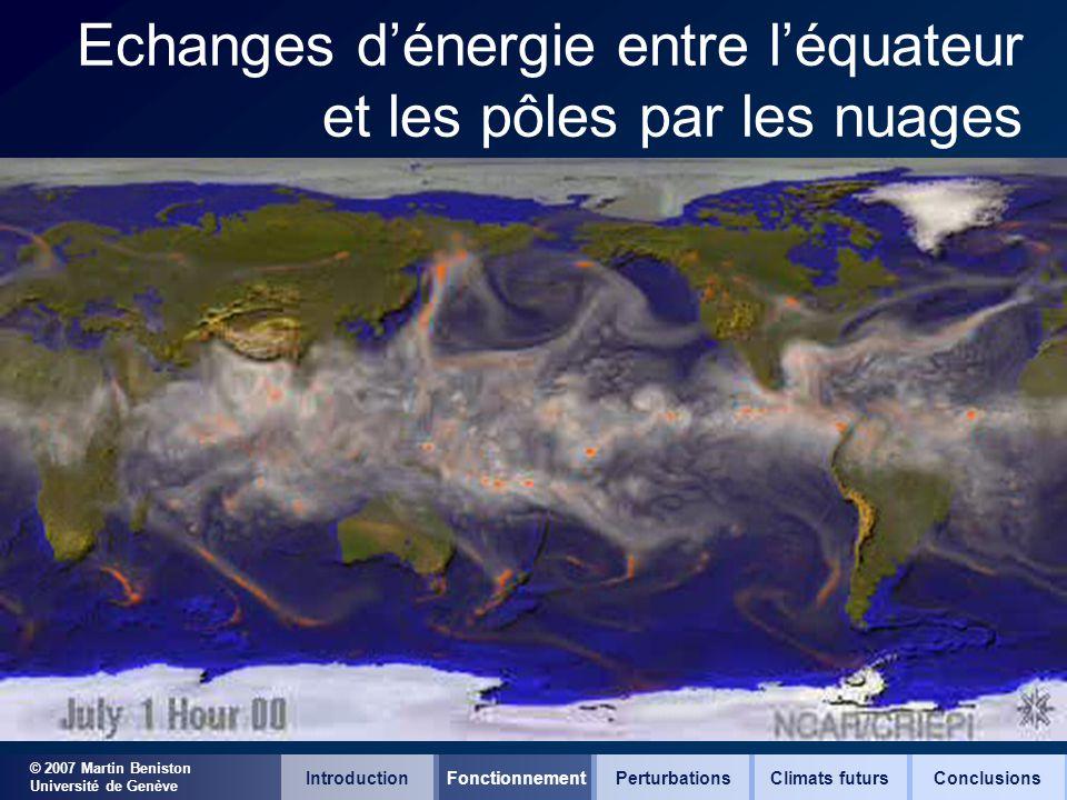 © 2007 Martin Beniston Université de Genève Echanges dénergie entre léquateur et les pôles par les nuages IntroductionFonctionnementClimats futursConc