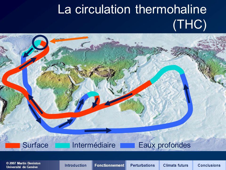 © 2007 Martin Beniston Université de Genève La circulation thermohaline (THC) SurfaceIntermédiaireEaux profondes IntroductionFonctionnementClimats fut