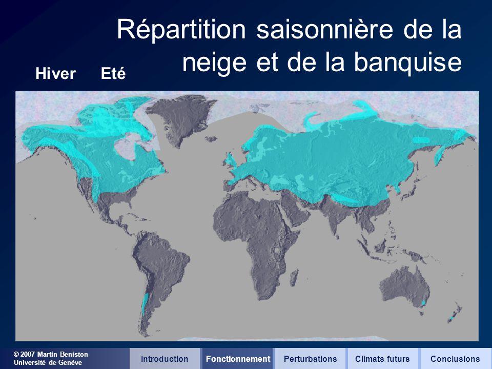 © 2007 Martin Beniston Université de Genève Répartition saisonnière de la neige et de la banquise HiverEté IntroductionFonctionnementClimats futursCon
