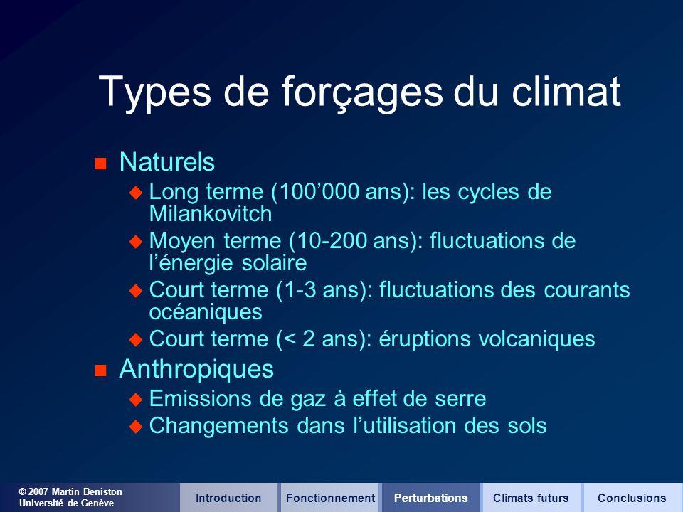 © 2007 Martin Beniston Université de Genève Types de forçages du climat n Naturels u Long terme (100000 ans): les cycles de Milankovitch u Moyen terme