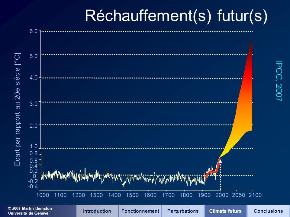 © 2007 Martin Beniston Université de Genève Réchauffement(s) futur(s) -0.4 -0.2 0 0.2 0.4 0.6 1.0 10001100120013001400150016001700180019002000 Ecart p