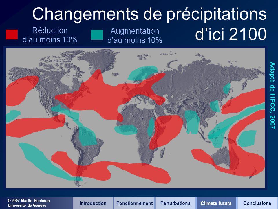 © 2007 Martin Beniston Université de Genève Changements de précipitations dici 2100 Adapté de lIPCC, 2007 Réduction dau moins 10% Augmentation dau moi