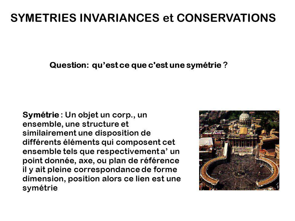 SYMETRIES INVARIANCES et CONSERVATIONS Symétrie : Un objet un corp., un ensemble, une structure et similairement une disposition de différents élément