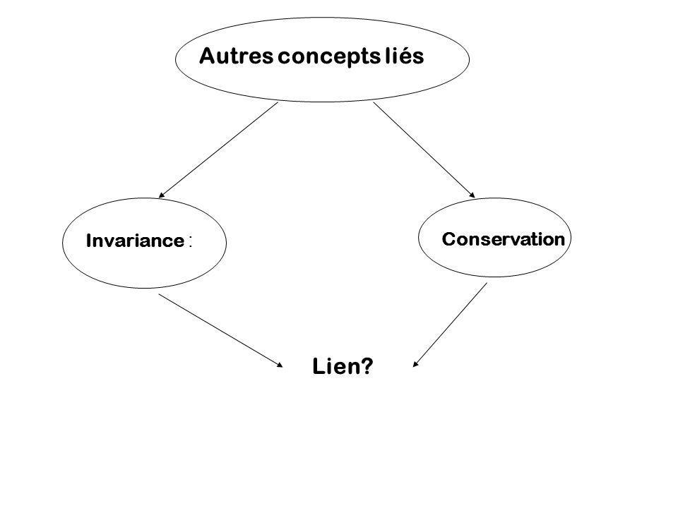 Autres concepts liés Invariance : Conservation Lien?