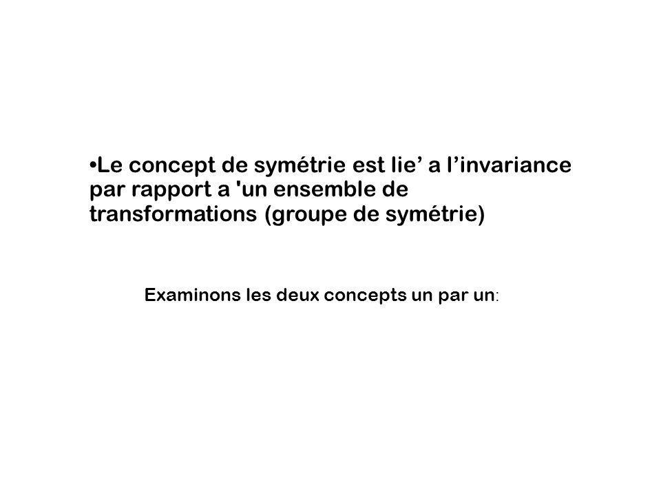 Le concept de symétrie est lie a linvariance par rapport a 'un ensemble de transformations (groupe de symétrie) Examinons les deux concepts un par un