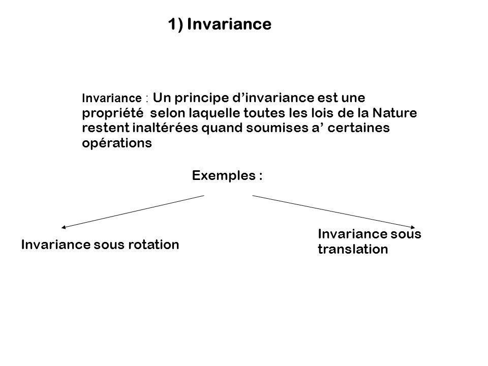 1) Invariance Invariance : Un principe dinvariance est une propriété selon laquelle toutes les lois de la Nature restent inaltérées quand soumises a c